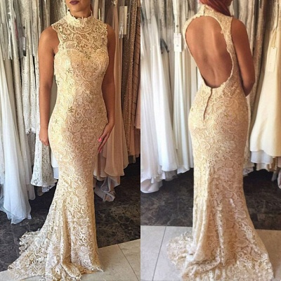 Elegant High-Neck Mermaid Open-Back Prom Dress 2018 Lace Sleeveless Evening Gowns_3
