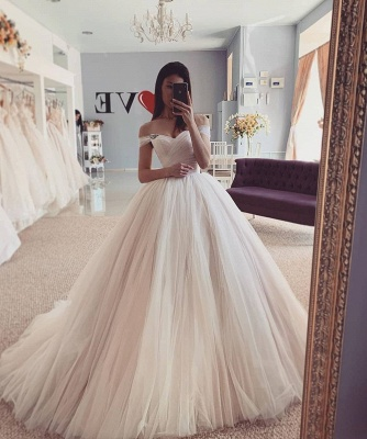 Simply Style Off The Shoulder Ruffles Floor Length  Ball Gown Wedding Dresses_2