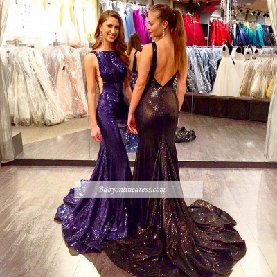 2018 Sexy Open Back Sleeveless Sequined Mermaid Court-Train Prom Dress_1