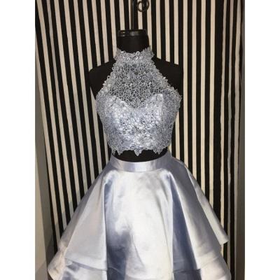 Cute Two-Piece Homecoming Dresses | Blue Halter Neck Hoco Dresses_4