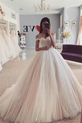 Simply Style Off The Shoulder Ruffles Floor Length  Ball Gown Wedding Dresses