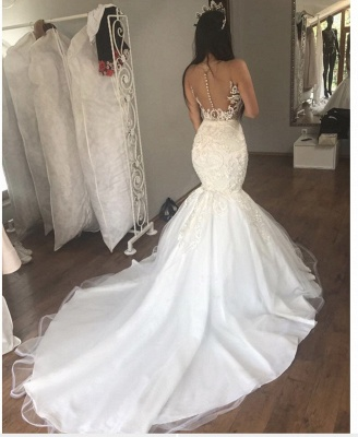 Sexy Lace Mermaid Beach Wedding Dresses | See Through Illusion Back Bridal Dresses_3