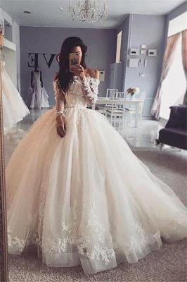 Graceful Off The Shoulder Long Sleeve Applique Ruffles Floor Length Ball Gown Wedding Dresses_1