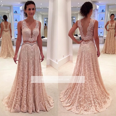 Two-Piece A-line Modern Lace Straps Sleeveless Prom Dress_1
