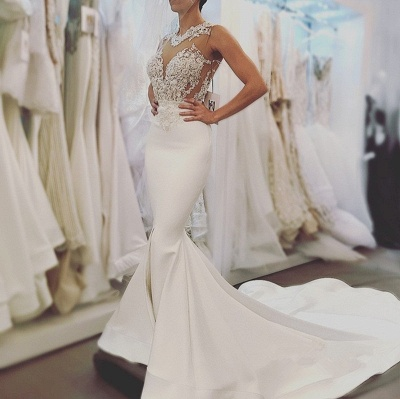 Elegant Mermaid Wedding Dresses | Sheer Neck Sleeveless Lace Appliques Long Bridal Gowns_4