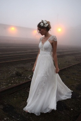 Vintage Beach Wedding Dresses Capped Sleeves Backless Lace Appliques Bow Back Bridal Dresses_1