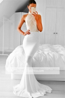 2018  Simple Sleeveless Appliques Mermaid Halter Prom Dress_3