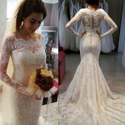 Lace Mermaid Wedding Dresses with Long Sleeves | Scoop Neck Beaded Elegant Bridal Gowns_3
