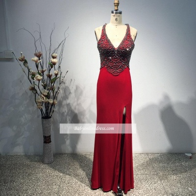 New Arrival Sexy Sleeveless Bodycon Long Front Split Straps Beads Prom Dress_1