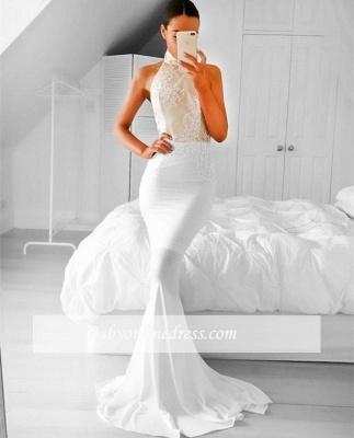 2018  Simple Sleeveless Appliques Mermaid Halter Prom Dress_1
