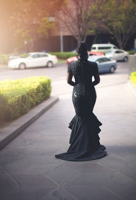 Sexy Black Mermaid Evening Gowns | V-neck Long Sleeves Wedding Party Dress_4