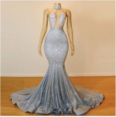 Mermaid Lace Appliques Prom Dresses |Elegant Halter Sleeveless Party Dresses_3