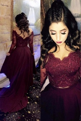 Newest A-line Hi low Beads Long-Sleeve Lace-Appliques Burgundy Prom Dress_3