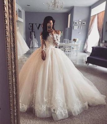 Graceful Off The Shoulder Long Sleeve Applique Ruffles Floor Length Ball Gown Wedding Dresses_2