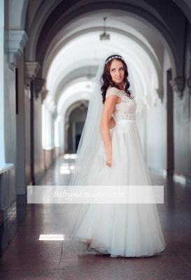 Long Elegant Lace Cap-Sleeve Tulle Split Wedding Dresses_1