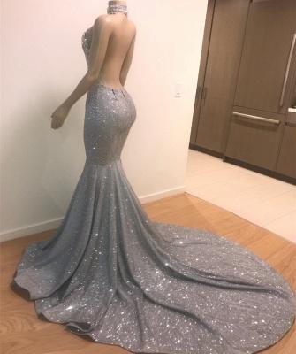 Mermaid Lace Appliques Prom Dresses |Elegant Halter Sleeveless Party Dresses_4
