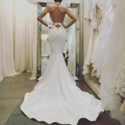 Elegant Mermaid Wedding Dresses | Sheer Neck Sleeveless Lace Appliques Long Bridal Gowns_3