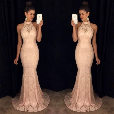 Sweep-Train High-Neck Lace Mermaid Elegant Sleeveless Prom Dress_3