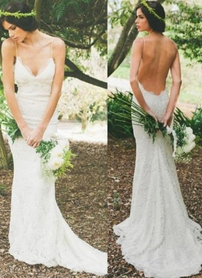 Sexy Lace Mermaid Wedding Dresses | Spaghetti Straps Summer Beach Bridal Dresses Backless