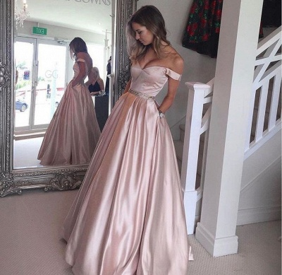 Pearl-Pink Puffy Off-the-Shoulder Party Gowns 2018 Pockets Beading Prom Dresses BA5008_3