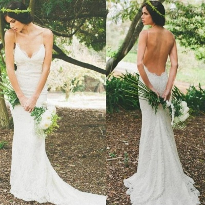 Sexy Lace Mermaid Wedding Dresses | Spaghetti Straps Summer Beach Bridal Dresses Backless_5