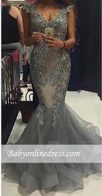 Elegant V-Neck Tulle Mermaid Prom Dresses 2018 Cap-Sleeves Open-Back Crystal Party Dress_3