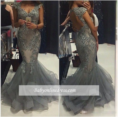 Elegant V-Neck Tulle Mermaid Prom Dresses 2018 Cap-Sleeves Open-Back Crystal Party Dress_1