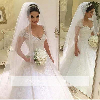Gown Capped-Sleeves Ball Gorgeous Beading Wedding Dresses_1