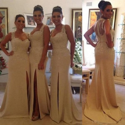 Sexy Lace Mermaid Bridesmaid Dresses Side Slit Beaded Prom Dresses with Buttons_2