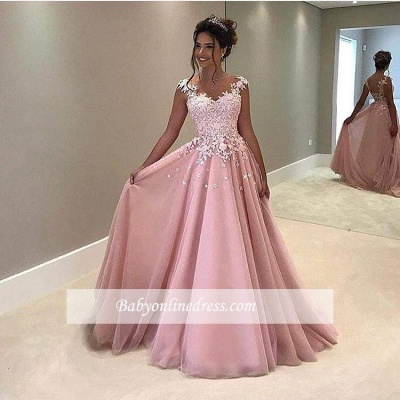 Gorgeous Lace V-Neck Prom Dress 2018 Appliques Pink Cap-Sleeves A-Line Evening Gowns_1