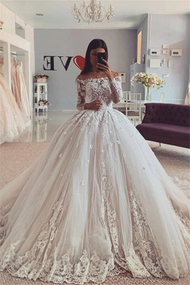 Graceful Long Sleeve Off The Shoulder Applique Floor Length Ball Gown Wedding Dresses