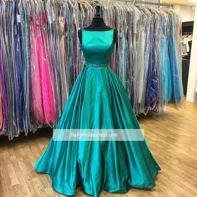 Green Stunning Sleeveless Beadings A-Line Prom Dress_1