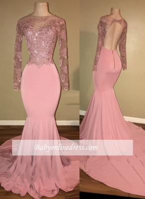 Shiny Long-Sleeves Mermaid Pink Beaded Backless Prom Dresses_3