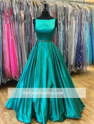Green Stunning Sleeveless Beadings A-Line Prom Dress_4