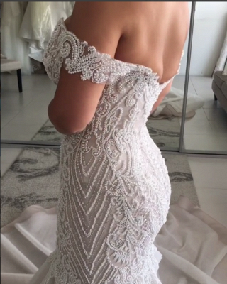 Gorgeous Pearls Mermaid Wedding Dresses | Off-the-Shoulder Long Bridal Gowns_5