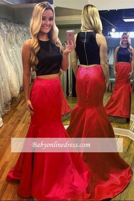 2018 Gorgeous Red Sleeveless Black Mermaid Two-Piece Evening Dress_1