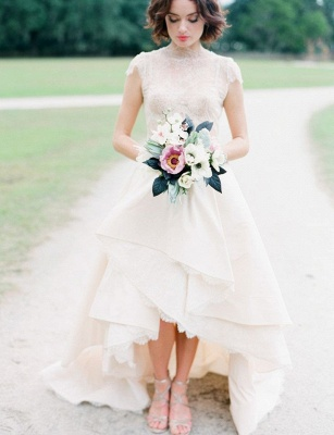 Chic Hi-Lo Wedding Dresses | High Neck Lace Layers Skirt Bridal Gowns_1