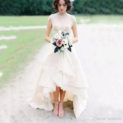 Chic Hi-Lo Wedding Dresses   High Neck Lace Layers Skirt Bridal Gowns_3
