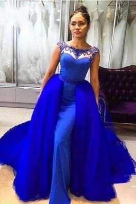Women Elegant Mermaid Prom Dresses | Royal Blue Sleeveless Evening Gown_1