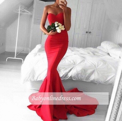 Red Gorgeous Sweetheart Sheath Mermaid Long Strapless Evening Dresses_1