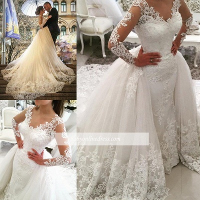 Elegant Tulle Long Sleeves V-Neck Appliques Wedding Dresses with Detachable OverSkirt_1