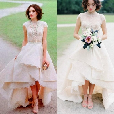 Chic Hi-Lo Wedding Dresses | High Neck Lace Layers Skirt Bridal Gowns_4