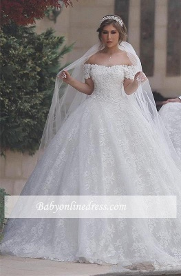 Lace-Up-Back Arabic Ball-Gown Sweetheart White Off-Shoulder Appliques Wedding Dresses_2