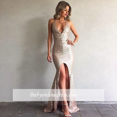 Sexy V-Neck Backless Mermaid Front-Split Sequined Prom Dress 2018_1