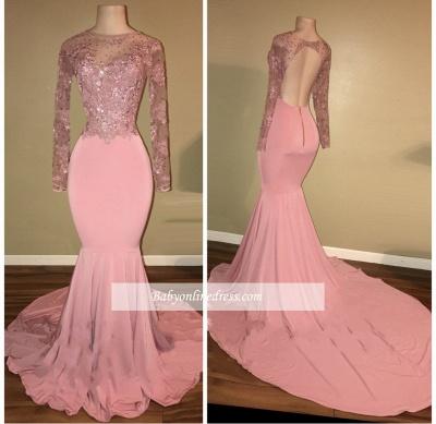 Shiny Long-Sleeves Mermaid Pink Beaded Backless Prom Dresses_1