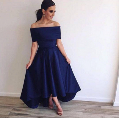 Off the Shoulder Bridesmaid Dresses Hi-Lo Blue Simple Prom Dresses_2