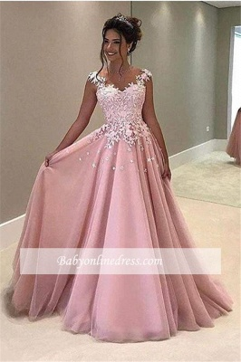 Gorgeous Lace V-Neck Prom Dress 2018 Appliques Pink Cap-Sleeves A-Line Evening Gowns_3