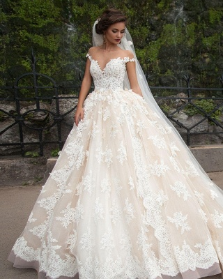 Elegant Lace Appliques Wedding Ball Gowns Off-the-shoulder Court Train Bridal Gowns_1