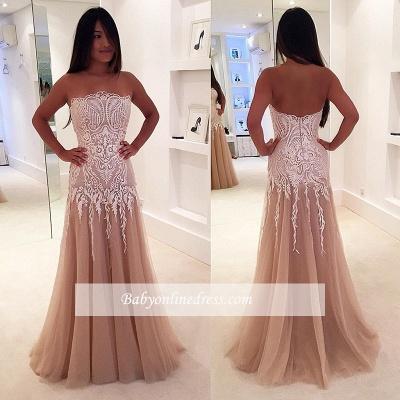 A-line Newest Lace Sleeveless Strapless Zipper Prom Dress_1