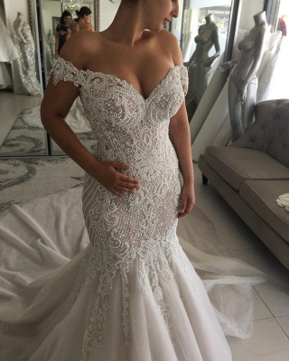 Luxury Pearls Mermaid Wedding Dresses | Off-the-Shoulder Long Bridal Gowns_3